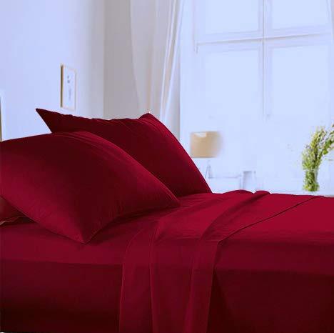 Made in Italy - Completo Lenzuola per letto 1 Piazza e Mezza+1 Federa cuscino in puro cotone di alta qualità 100% Made in Italy (sotto con Angoli H 20cm) Angel's (Bordeaux, 1 piazza e mezza)