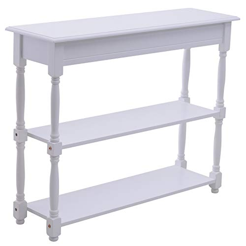 HOMCOM Entryway Wood Console Table with 2-Tier of Display Shelves Hallway Furniture White
