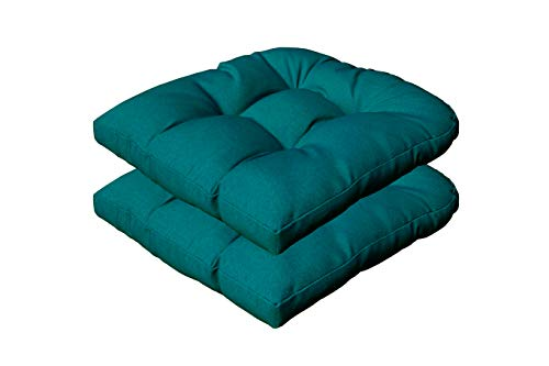 Sewker Outdoor/Indoor Tufted Wicker Seat Cushions, 19' x 19' for Patio Chair Furniture Set of 2 - Teal