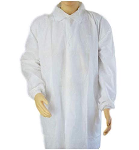 不織布 スーツ 上着 使い捨て 衛生 食品 加工 工場 見学 白衣 (M, 10枚)