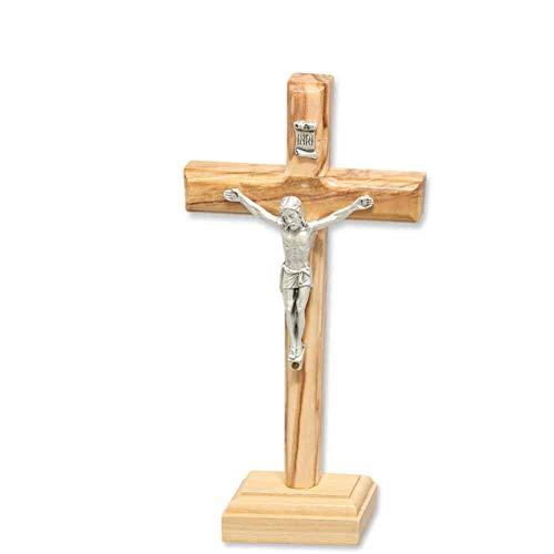 Stehkreuz Standkreuz Altarkreuz Olivenholz naturfarben lackiert mit Metall Korpus Christus Körper 9,5 x 5 cm Kruzifix mit Fuß Trauerkreuz Reisebegleiter