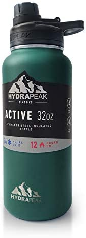 Hydrapeak BPA Free Water Bottle 32 oz Vacuum Insulated Stainless Steel Thermos Wide Mouth and product image