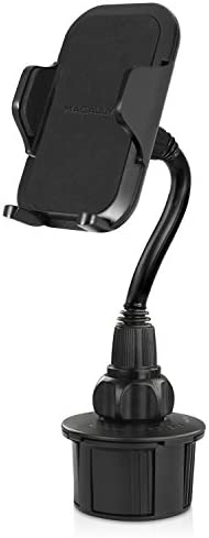 """Macally Car Cup Holder Phone Mount – Secure Fit for Phones up to 4.1"""" Wide – Cup Phone Holder for Car with Flexible Gooseneck & 360° Rotatable Cradle – Universal Vehicle Fitment Cell Phone Cup Holder"""