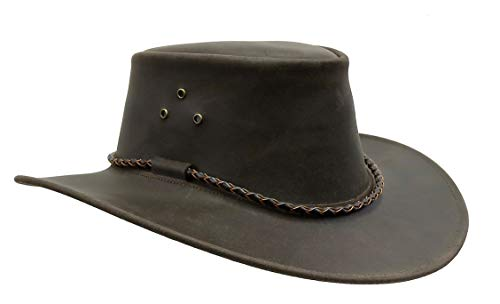 Kakadu Traders Lederhut aus Glattleder in braun geflochtenes Hutband-2.Wahl