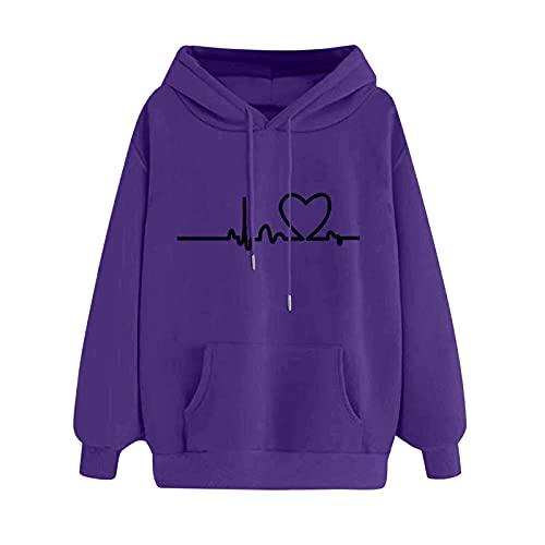 MEIPIQI Sudadera con capucha para mujer con estampado de amor 2021, de manga larga, con capucha, para deporte, de manga larga, morado, XL