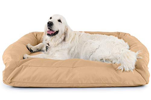 K9 Ballistics Tough Bolster Nesting Large Dog Bed - Washable, Durable and Waterproof Dog Beds - Made for Big Dogs, 34'x40', Tan