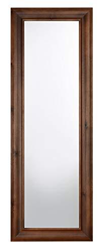 MO.WA Espejo de pared largo de madera clásica con acabado nogal 51 x 146 cm Espejo para colgar en vertical y horizontal Made in Italy.