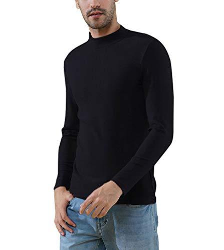 Soojun Men's Slim Fit Super Soft Mock Turtleneck T-Shirt Black Large