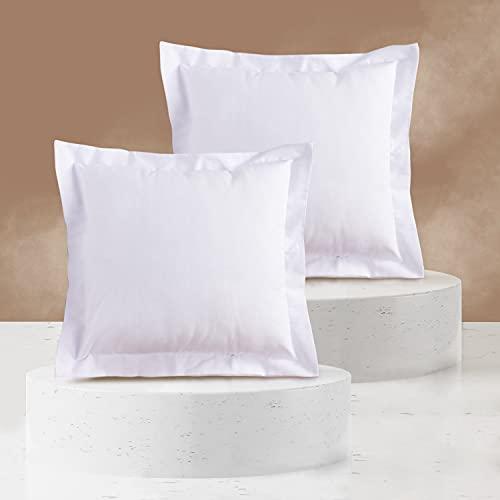Viste tu hogar Pack 2 Fundas de Cojin con Volante 50x50 cm, Algodón y Poliéster, para Decoración de Hogar en Color Blanco Liso.
