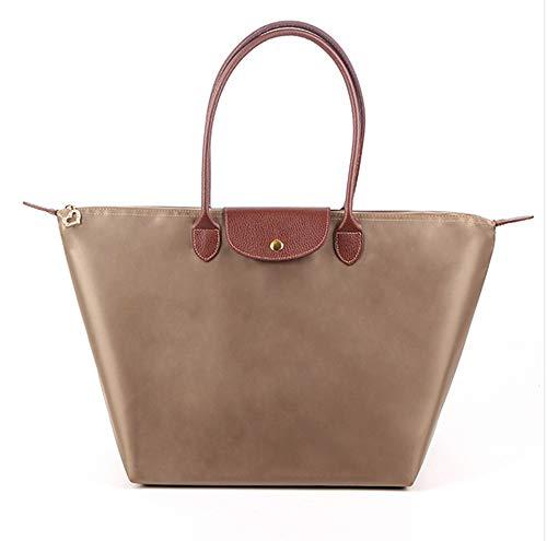 Shopper,Tasche Schultertaschen Damen Wasserdichte Handtaschen Faltbare für Einkaufen Strand Reise Ausflug Nylon Khaki Mittel