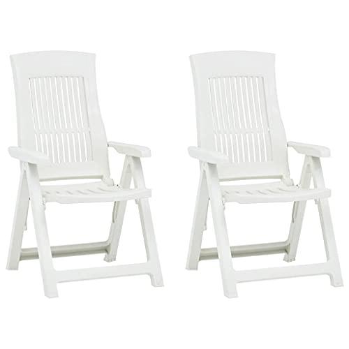 vidaXL 2X Gartenstuhl Verstellbar Stuhl Klappsessel Klappstuhl Campingstuhl Hochlehner Stühle Gartenstühle Gartenmöbel Kunststoff Weiß