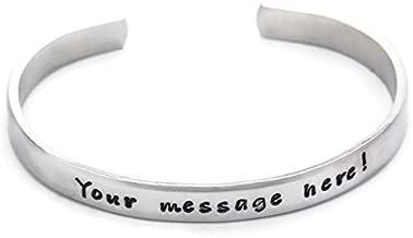 Pulsera de encargo del brazalete del mensaje, joyería de aluminio estampada a mano del metal, pulsera personalizada