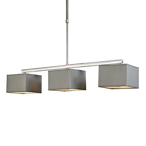 QAZQA - Modern Hängelampe | Pendellampe | Pendelleuchte | Esstisch | Esszimmer VT 3-flammig grau | Wohnzimmer | Küche - Textil Quadratisch | Länglich - LED geeignet E27