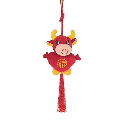 GRASARY Muñeca china zodiac, diseño de peluche con forma de batalla, colgante para decoración del hogar, regalo perfecto para niños, regalo de cumpleaños, color rojo