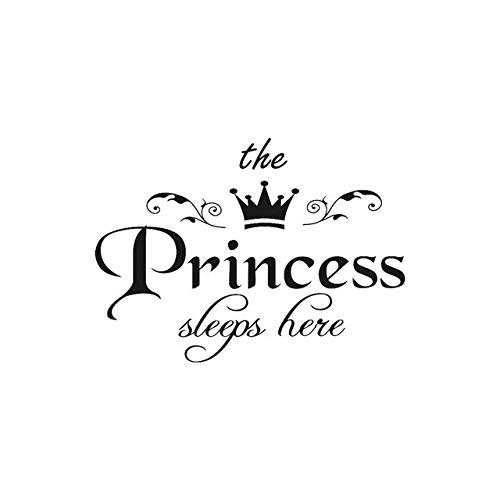 Muurstickers, motief: prinses slapen hier kroon, woonkamer, slaapkamer, vinyl, gesneden kaart 80X57CM Blanco Y Gris