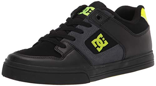 DC Boys' Pure Elastic Skate Shoe, Black/Grey/Yellow, 4 Big Kid