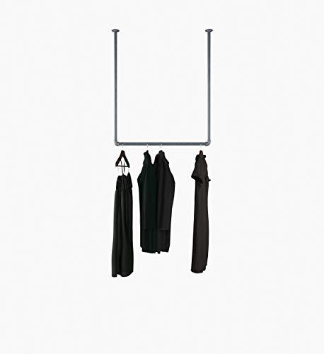 KWERQUS Kleiderstange Decke - Hänge Garderobe Alex aus Temperguss Rohr - Dachschräge Kleiderstange Schwarz 100% Made in Germany - Stabile Garderobe Industrial