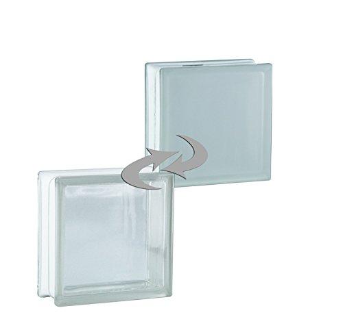6 Stück BM Glassteine Vollsicht SUPER White 1-seitig satiniert (Milchglas) 19x19x8 cm