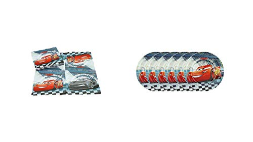 ALMACENESADAN, 0500, Pack Fiestas y cumpleaños Disney Cars, Pack 6 Platos 20 cms, Pack 16 servilletas Disney Cars