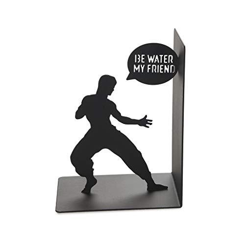 Balvi Sujeta Libros Bruce Color Negro Sujetalibros Decorativo con la icónica Figura de Bruce Lee Hierro 17 cm