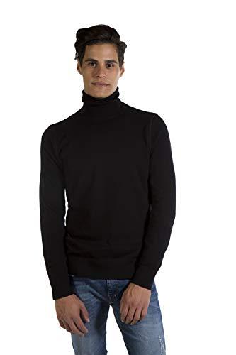 MY BASIC Herren Rollkragen Pullover Baumwolle-Kaschmir 100% natürliches Garn