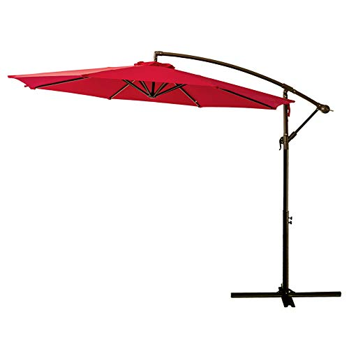 FLAME&SHADE 10' Cantilever Outdoor Offset Patio Shade Umbrella Hanging Market Style for Outside Table Deck Backyard or Pool, Red