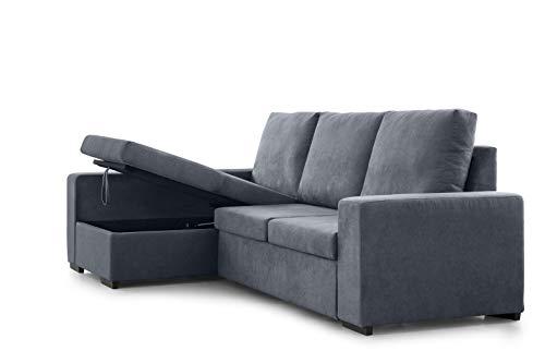 SWEET SOFA - Sofá Chaiselongue MONACO, 3 plazas, sofá convertible en cama con arcón sofá multifunción 3 en 1 en elegante tela anti manchas. Fabricación Nacional (Chaise Longue izquierdo, Gris oscuro)