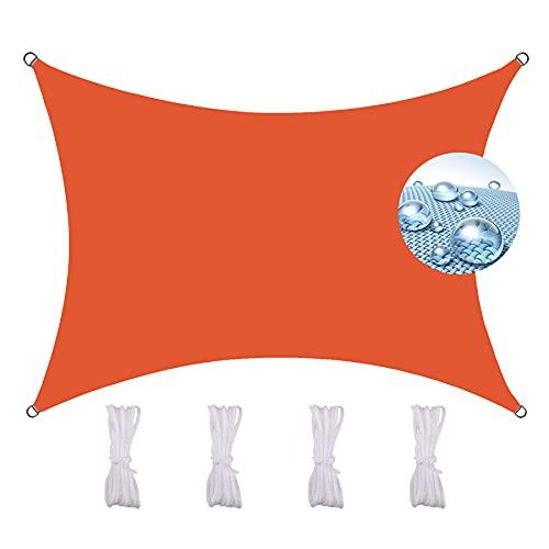 ZQXFZ Sonnensegel Rechteckig Wasserdicht 2X1.8M, Mit Spannseilen FüR Garten Balkon Terrasse Uv Schutz sonnensegel regenfest GewäChshausabdeckungen -Orange