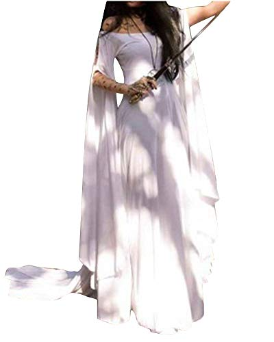 Mujer Traje Medieval Irregular Disfraz De Reina Princesa Medieval Vestido Gotico Trapear Cosplay Blanco XL