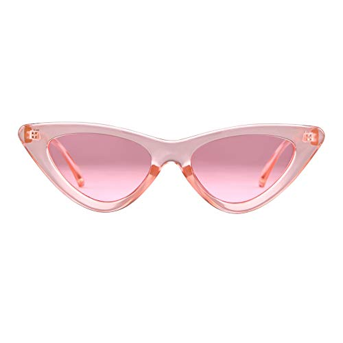 Retro Vintage Cat Eye Sunglasses for Women Clout Goggles Plastic Frame Glasses (Transparent Pink, 51)