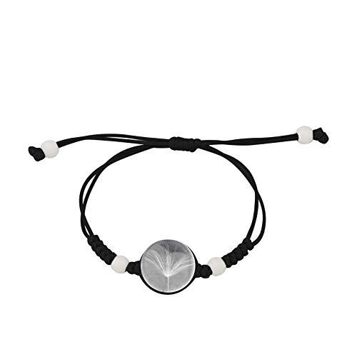 FAADBUK Real Dandelion Handmade Rope Bracelet Crystal Clear Glass Charm Dandelion Pendant Bracelet Make A Wish Dandelion Jewelry for Girl Women (Black Rope)