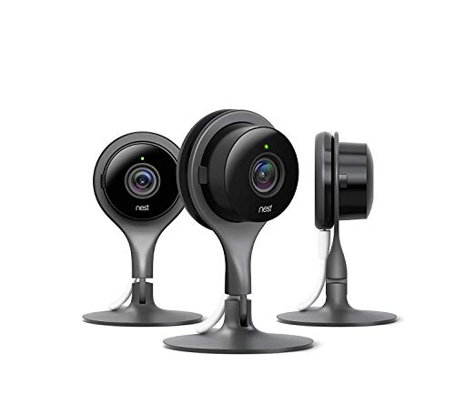 Google Nest Cam - Indoor Home Security Camera with Night Vision  works with Google Assistant and Alexa, Black, 3 Pack