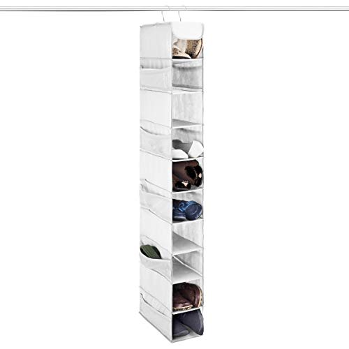 ZOBER 10-Shelf Hanging Shoe Organizer 1 Pack Hanging Closet Shoe Organizer with Side Mesh Pockets Space Saving Shoe Holder Storage Closet Organizer Great for Shoes Purses Handbags Etc White
