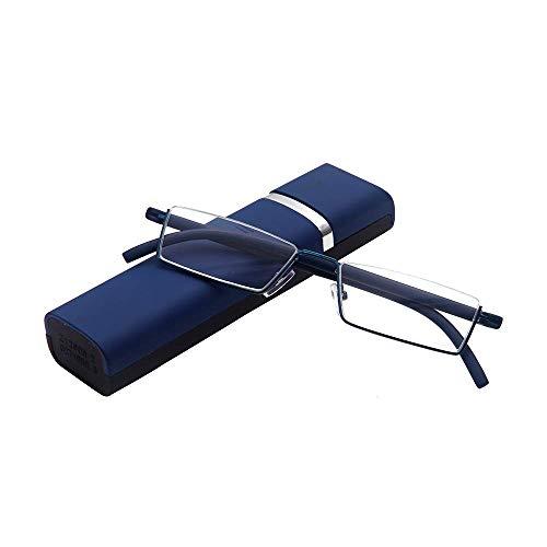 Lesebrille mit Ultraleichtem TR90 Rahmen Lesehilfe Halbbrille aus Metallrahmen mit Halbrahmen Sehehilfe mit Brillenetui für Damen und Herren(Blau,+2.5)