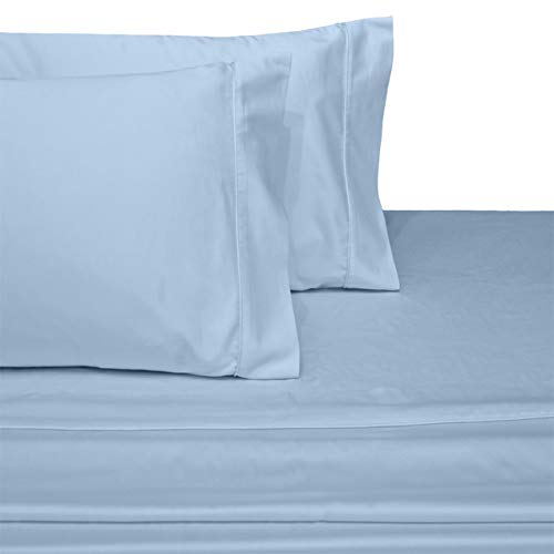 Exquisitely Lavish Sateen Solid Weave Bedding by Pure Linens, 300 Thread Count 100-Percent Plush Cotton, 4 Piece Queen Size Deep Pocket Hemmed Sheet Set, Blue