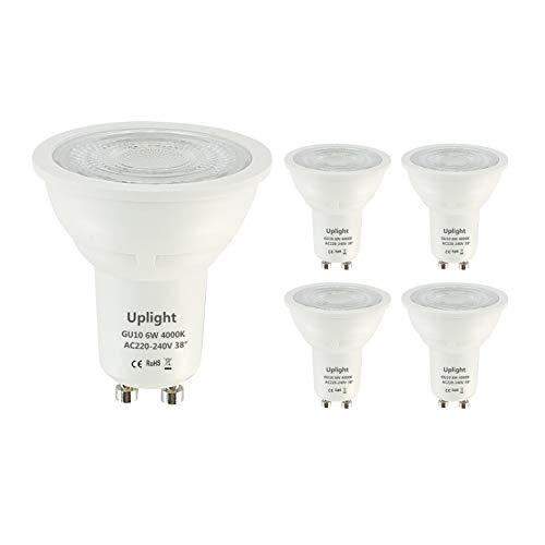 Uplight Lampadine LED GU10,Bianco Naturale 4000K,6W Pari ad alogene da 50W,470m,RA80,Angolo del Fascio di 38 Gradi,Non Dimmerabili,Confezione da 5.