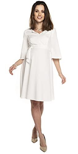Torelle Maternity Wear Damenkleid elegant Weiss Brautkleid Sommerkleid für Schwangere und Nicht-Schwangere Damen, Modell: NIMIS Creme, S