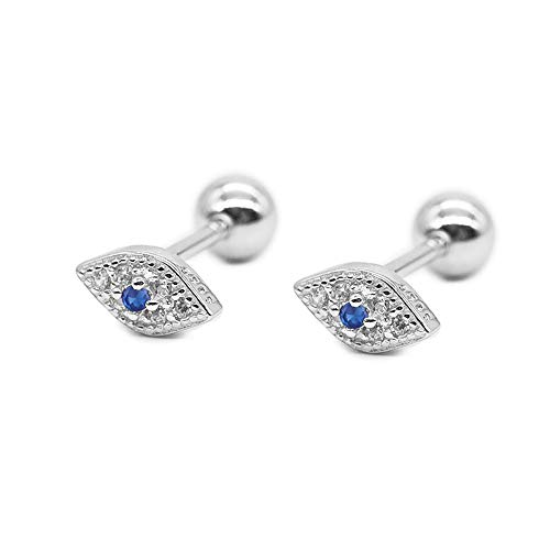 20g Blue Evil Eye Mini CZ Stud Earrings for Women Little Girls Dainty Minimalist 925 Sterling Silver Tiny Cartilage Tragus Small Cute Screw Back Hypoallergenic Studs for Daughter Bff Birthday (Silver)