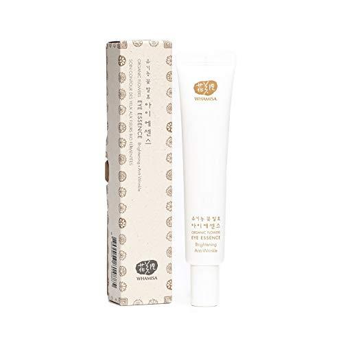WHAMISA Organic Flowers Eye Essence - Korean Skin Care Augencreme gegen Falten und Augenringe Serum mit Adenosin - Koreanische Kosmetik Cream Sanft Fermentiert - 40ml