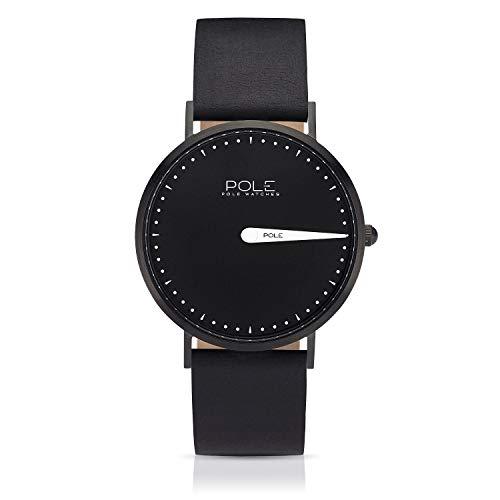 Pole Watches Orologio da Polso Analogico Monolancetta di Quarzo da Uomo Quadrante Nero e Cinturino di Cuoio Nero Modelo Classic Melanoid C-1002NE-BL07