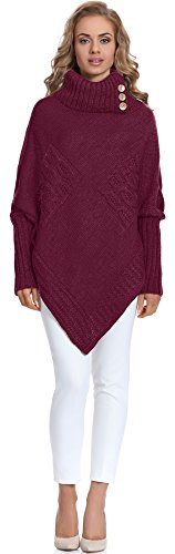Merry Style Damen Poncho M83N4 (Weinrot, One size)