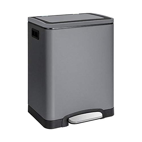 CALITEK Recycling Bin 30 Litres with 2 Compartment Kitchen Pedal Bin 2 x 15 L Waste Separation System with Soft Close Lid Odour Proof and Removable Inner Bucket (Grey)