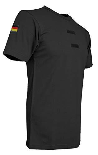 Bundeswehr Tropen T-Shirt mit Deutschlandfahnen und Klettstreifen in, schwarz, Oliv und Coyote (7, Schwarz)
