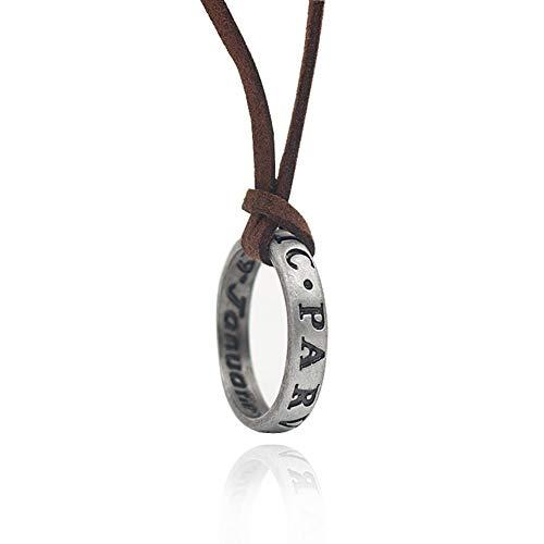 2つの様式 Uncharted 4 未知の 神秘的な海 刻まれた レザーネックレス メンズ ドレイク スカル ヴィンテージゴールドコイン リングリング 指輪 ペンダント (指輪)