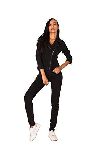 Nina Carter Damen Jeans Overall Art. S387 Jumpsuit Skinny Fit Denim-Overall (Schwarz, L)