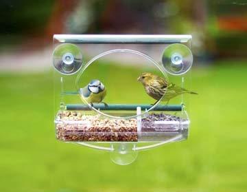Lou's Nature Store - Window Bird Feeder, Bird Feeding Station, Bird Bath & Feeder for Wild Birds, Small Birds