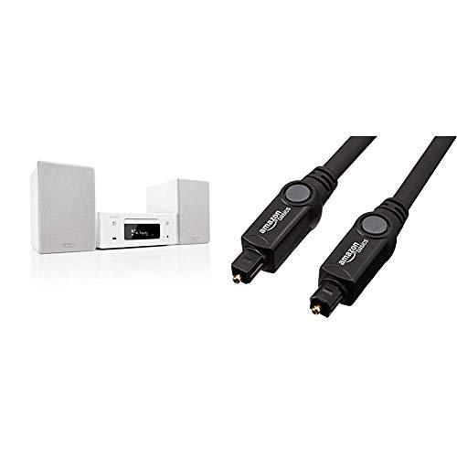 Denon N-10WT CEOL Netzwerk-Kompaktanlage weiß & AmazonBasics Toslink Optisches Digital-Audiokabel, 1,83 m