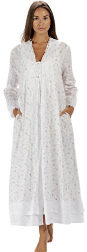 The 1 for U 100% Cotton Ladies Robe/Housecoat - Rosalind (XL, Lilac Rose)