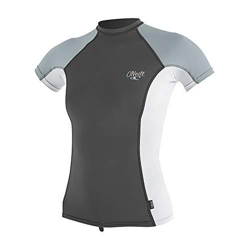 O'Neill Dames Premium Skins korte mouwen Rash vest Top Graphite White - Quick Dry UV-zonwering en SPF eigenschappen