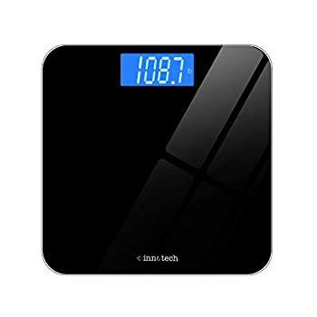 Innotech Digital Bathroom Scale with Easy-to-Read Backlit LCD  Black